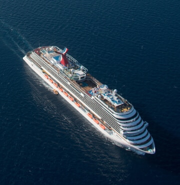Carnival cruise ship in the open ocean.