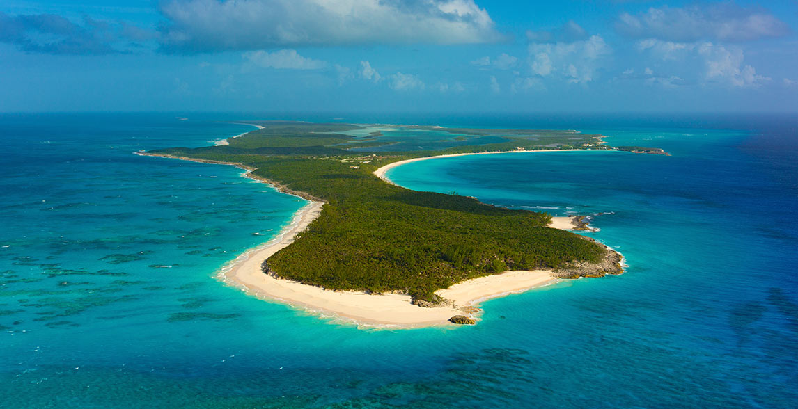 Aerial view of the beautiful Half Moon Cay, Bahamas.