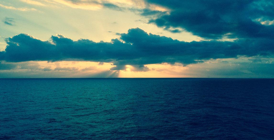 Calm ocean and pretty clouds.