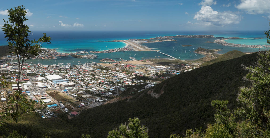 Aerial view of St Martin in the Caribbean.