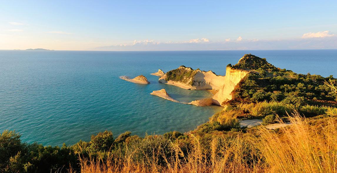 Landscape view of sea in Corfu.
