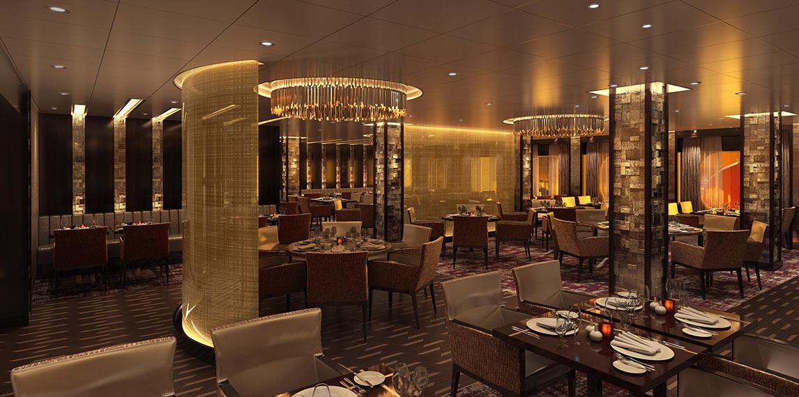 Chic interior design of Fahrenheit 555 restaurant with dim lighting.