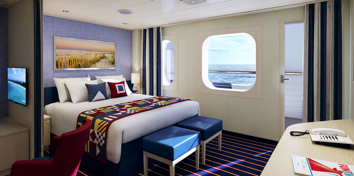 Nautical inspired family stateroom with ocean view.