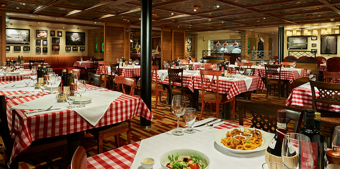 Table setting of Cucina Del Capitano with modern interior design.