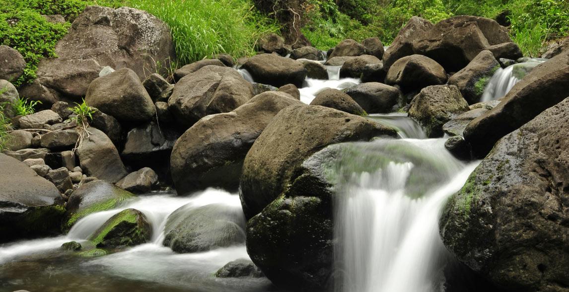 Water spring at Iao Valley, Hawaii.
