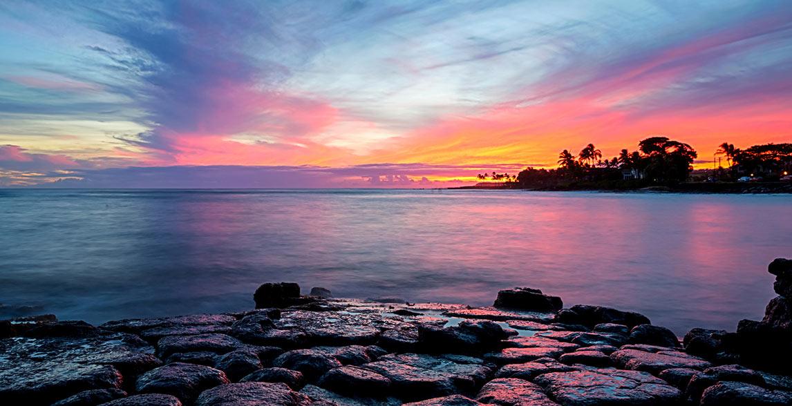 Ocean sunset view in Maui, Hawaii.
