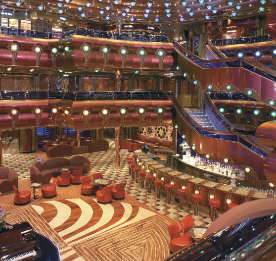 Atrium interior on Carnival Freedom.