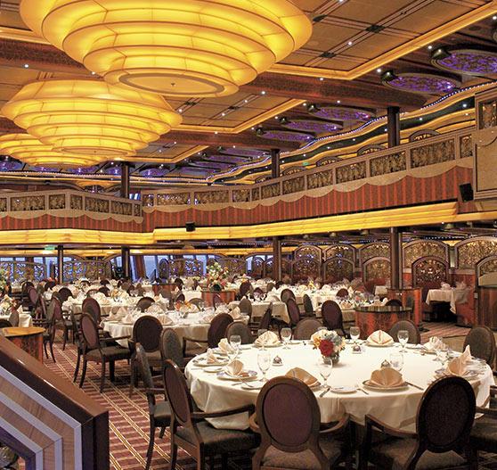 Dining room interior on Carnival Freedom.