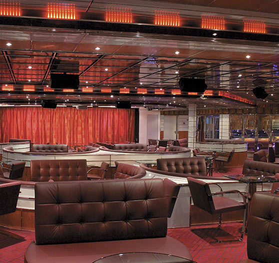 Interior of lounge on Carnival Freedom.