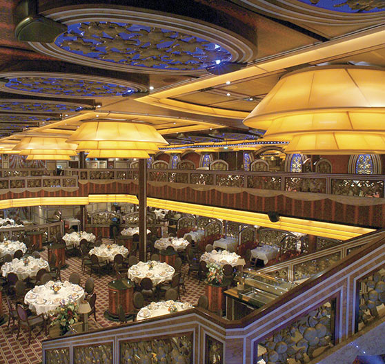 Dining hall interior on Carnival Freedom.