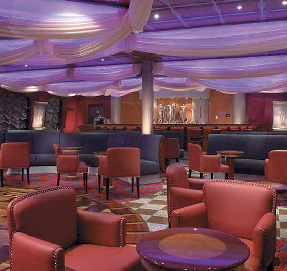 Lounge bar interior on Carnival Freedom.