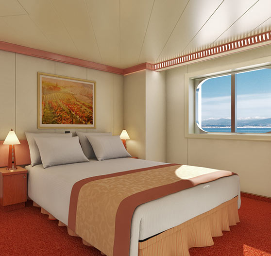 Ocean view stateroom on Carnival Freedom.