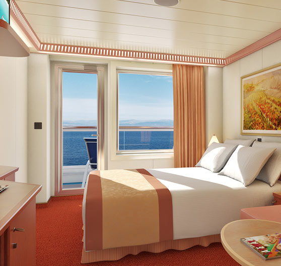 Balcony view stateroom on Carnival Freedom.