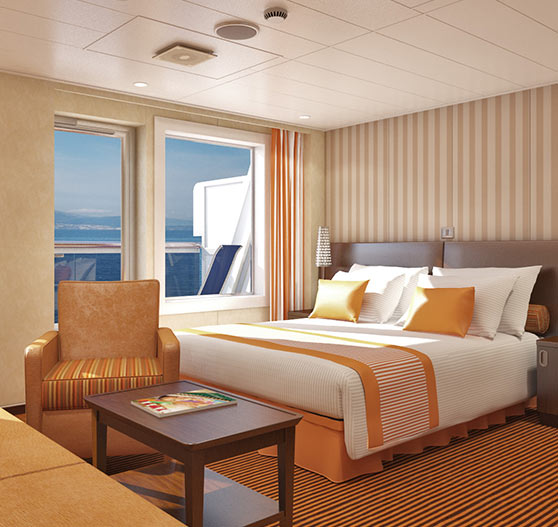 Junior suite interior stateroom on Carnival Freedom.