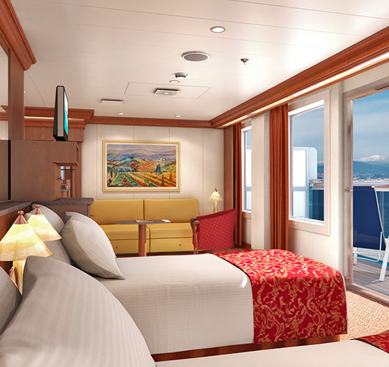Ocean suite stateroom on Carnival Freedom.