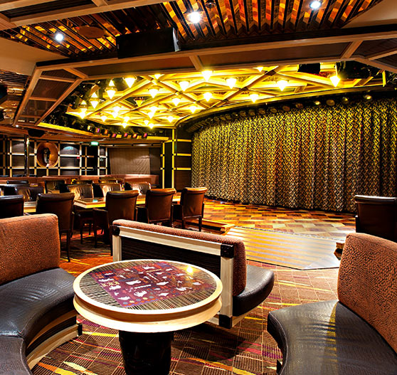 Ebony lounge interior on Carnival Glory.