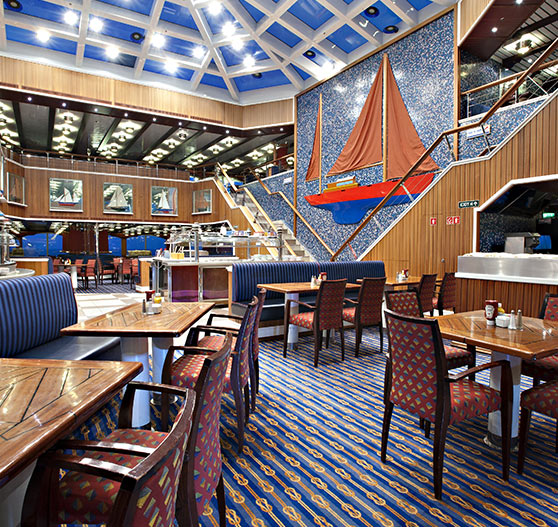 Redsail restaurant interior on Carnival Glory.