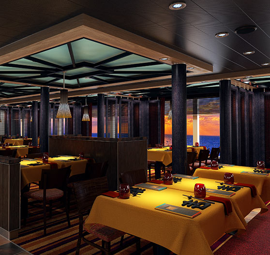 JIJI asian restaurant interior on Carnival horizon.