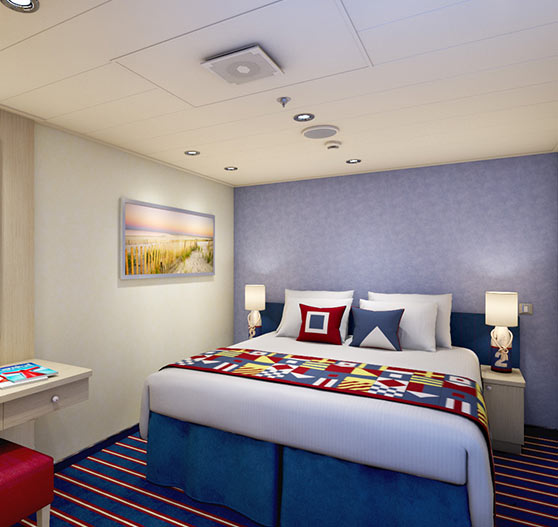 Family harbor suite interior stateroom on Carnival horizon.