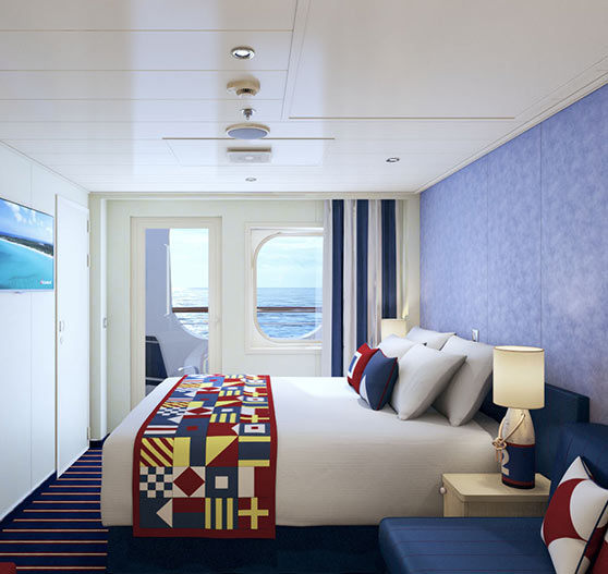 Family harbor cove balcony suite stateroom on Carnival horizon.