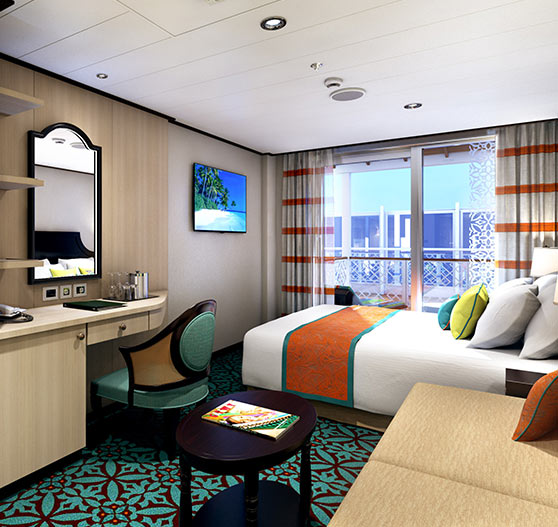 Havana Cabana suite stateroom interior on Carnival horizon.