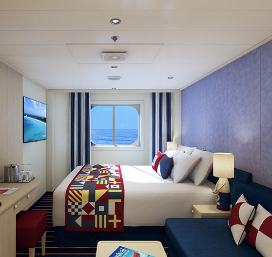 Family harbor suite stateroom interior on Carnival horizon.