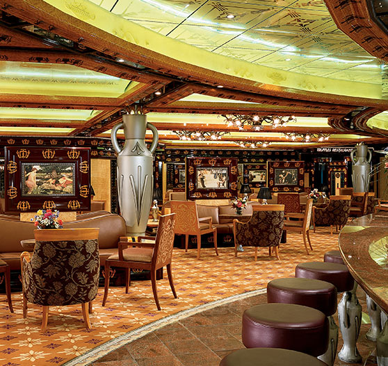 Lounge and bar area interior on Carnival Legend.