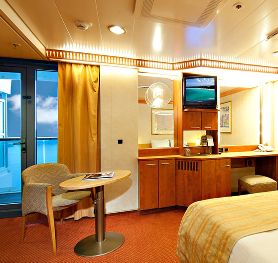Extended balcony view stateroom on Carnival Legend.