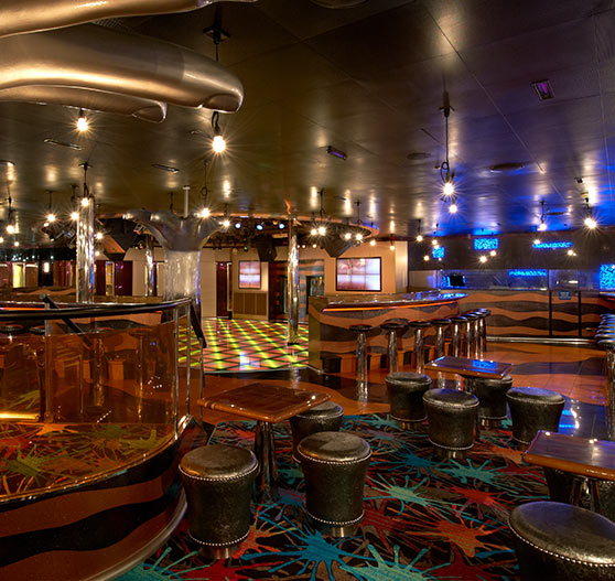 Hot and cool nightclub interior on Carnival Liberty.