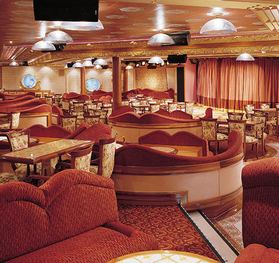 Interior of lounge area on Carnival Liberty.