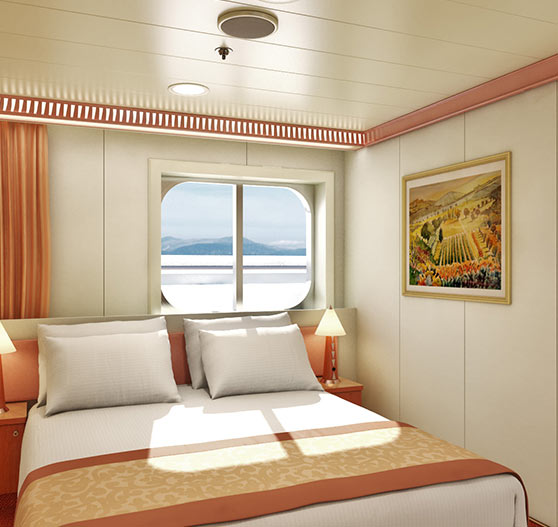 Interior window view stateroom on Carnival Liberty.