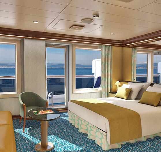 Ocean suite stateroom interior on Carnival Magic.