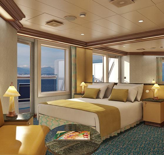 Junior suite stateroom interior on Carnival Magic.