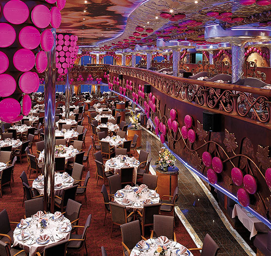 Dining area interior on carnival miracle.