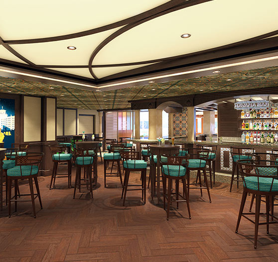 Havana plaza bar render on Carnival Panorama.