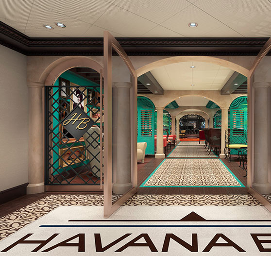 Havana plaza entry render on Carnival Panorama.
