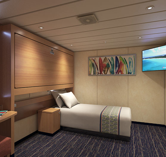 Interior stateroom on Carnival paradise.