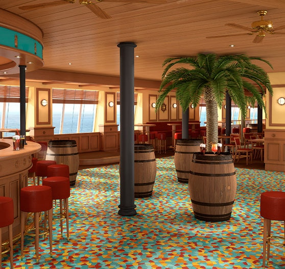 Red frog bar on Carnival Radiance.