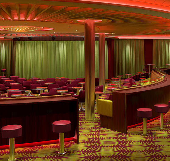 Comedy club interior on Carnival Radiance.