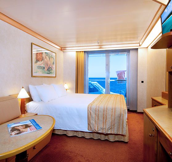 Balcony view stateroom on Carnival Spirit.