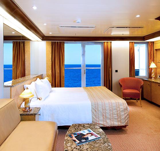 Premium balcony stateroom on Carnival Spirit.
