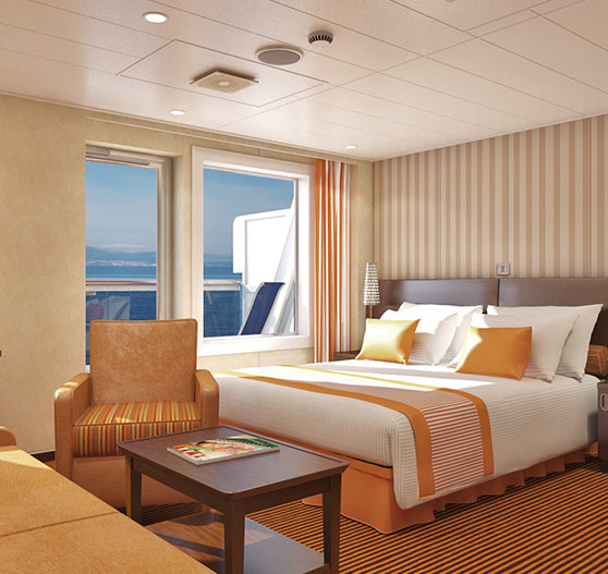 Junior suite stateroom on Carnival Splendor.