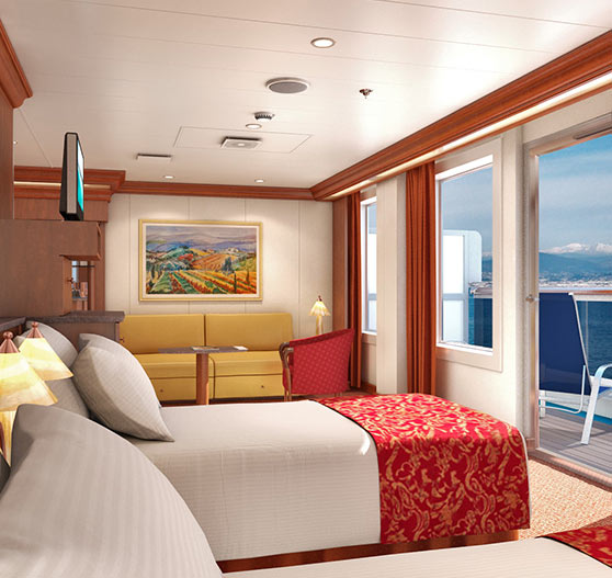 Ocean suite stateroom interior on Carnival Splendor.