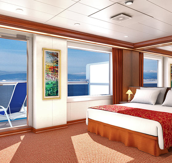 Grand suite stateroom interior on Carnival Splendor.