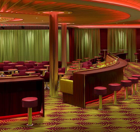 Comedy club interior on Carnival Sunrise.