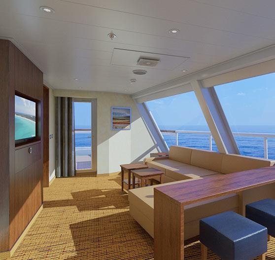 Captain suite stateroom interior on Carnival Sunrise.