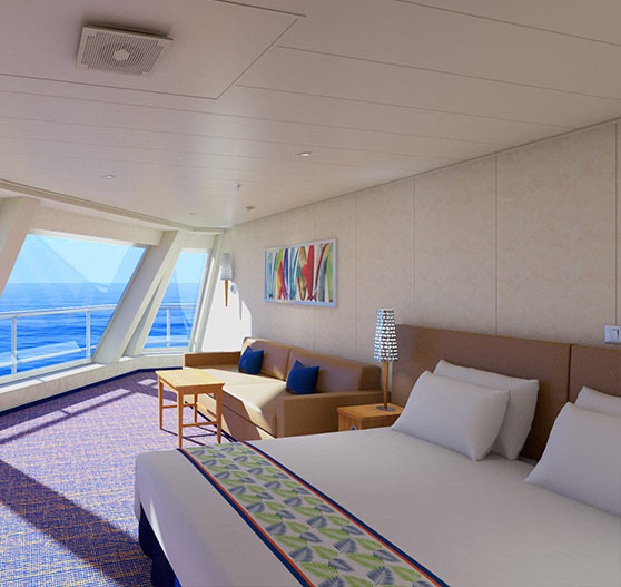 Cloud 9 spa balcony view stateroom on Carnival Sunrise.