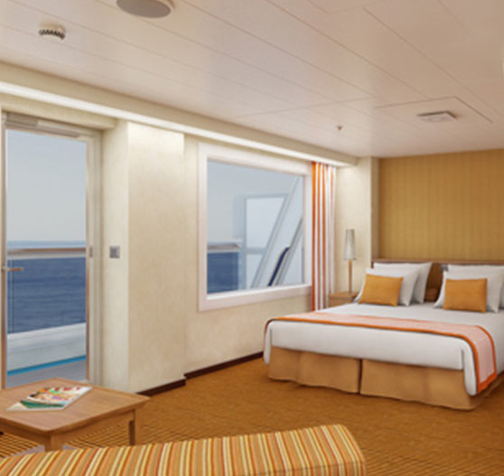 Grand suite stateroom interior on Carnival Sunshine.