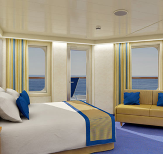 Ocean suite stateroom interior on Carnival Sunshine.