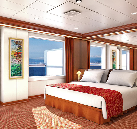 Grand suite stateroom interior on carnival valor.